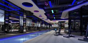 400平高科技风格室内健身房装修效果图