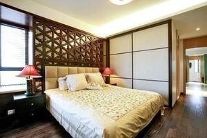 主卧室中式床头背景墙装修效果图