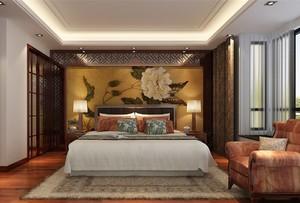 次卧中式床头背景墙装修效果图