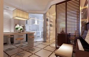 95平现代风格厨房吧台隔断设计图效果一览表