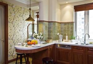 110平美式风格厨房吧台隔断效果图大全2020