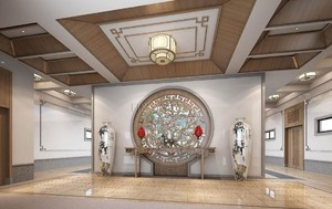 142平米中式风格公司门厅吊顶装修效果图