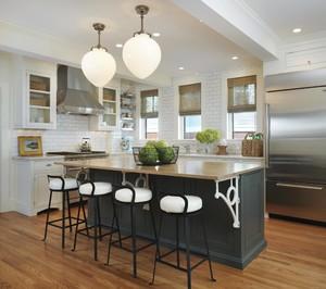 现代简约风格开放式整体厨房装修效果图