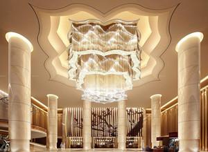 245平米酒店大厅石膏板吊顶装修效果图