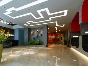 200平米酒店大厅石膏板吊顶装修效果图