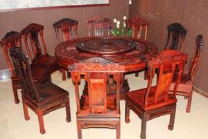 餐厅专用红木餐桌家具店装修效果图