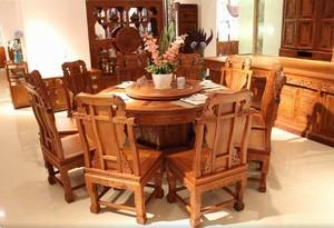 自然清新红木餐桌家具店装修效果图