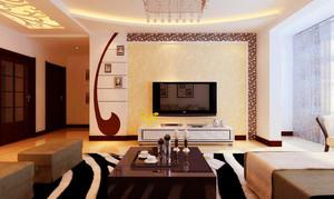 110平米客厅电视柜背景墙装修效果图