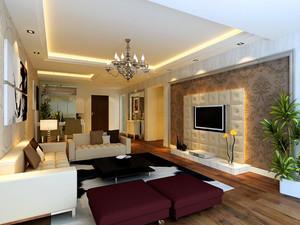 128平米客厅电视柜背景墙装修效果图