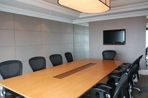 会议室双层石膏板异形吊顶效果图