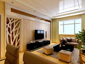 106平米客厅电视柜背景墙装修效果图