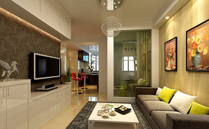 123平米客厅电视柜背景墙装修效果图