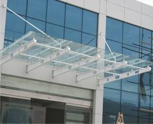 办公楼大门钢结构钢化玻璃雨棚施工图