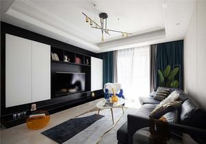 124平米客厅电视背景墙柜装修效果图