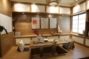 9平书房榻榻米日式风格带升降桌收纳抽屉装修效果图