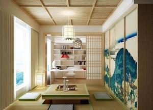 别墅榻榻米书房日式风格带升降桌装修效果图