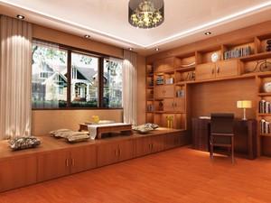 别墅榻榻米书房现代风格带收纳抽屉装修效果图