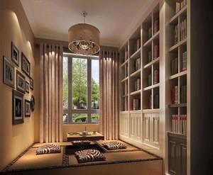 别墅榻榻米书房现代风格带书柜装修效果图