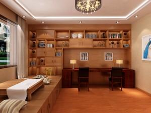 别墅榻榻米书房现代风格带书桌书柜装修效果图