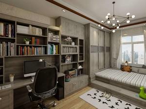 简欧榻榻米卧室20平米阶梯型带书柜装修效果图