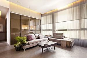 大户型客厅现代简约飘窗窗帘装修效果图