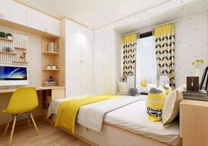 130平米卧室现代简约飘窗窗帘装修效果图