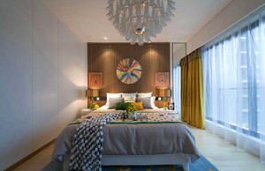 三居室现代简约飘窗窗帘装修效果图