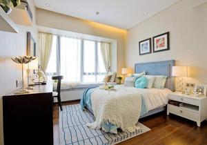 别墅卧室现代简约飘窗窗帘装修效果图