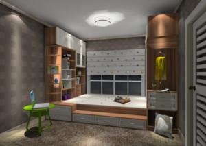 85平米小户型卧室灰色榻榻米装修效果图
