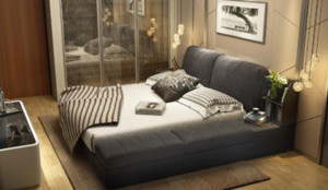 120平米三居室卧室灰色榻榻米装修效果图