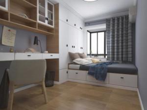 125平米三居室卧室灰色榻榻米装修效果图