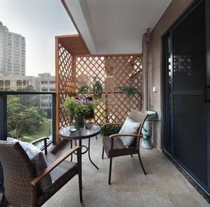 三居室中式古典客厅和阳台通铺地砖效果图