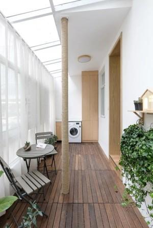 100平米田园客厅阳台地板砖装修效果图
