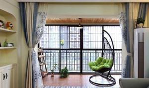 150平米别墅封闭式阳台窗帘装修效果图