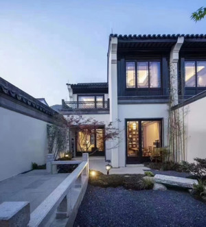 440平方房子中式庭院花园阳台装修效果图
