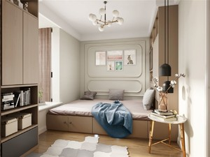 120平三居室简约美式风格10平小卧室榻榻米装修效果图