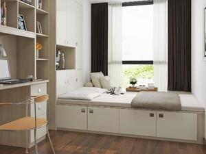 65平两居室现代简约风格10平小卧室榻榻米装修效果图