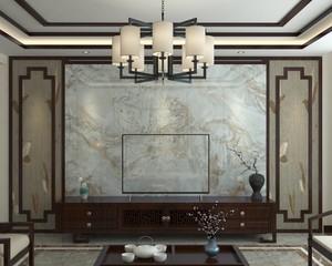 180平现代中式别墅电视墙装修效果图