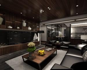 190平现代中式别墅电视墙装修效果图