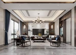 200平现代中式别墅电视墙装修效果图