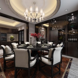 170平新中式别墅餐厅隔断装修效果图