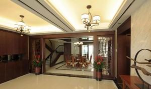 210平新中式别墅餐厅隔断装修效果图