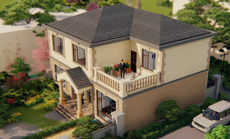 农村新中式二层带露台别墅图