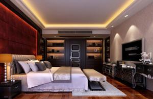 90平方房子别墅新中式卧室床头背景墙装修效果图