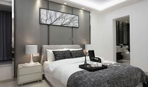 120平米跃层别墅新中式卧室床头背景墙装修效果图