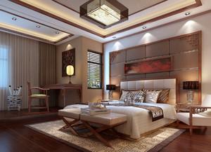 大户型别墅新中式卧室床头背景墙装修效果图