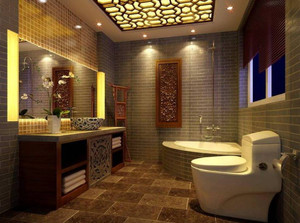 自建房子别墅新中式卫生间吊顶装修效果图