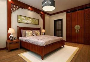 复式别墅新中式卧室背景墙装修效果图