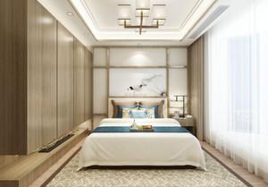 240平米小跃层别墅新中式卧室背景墙装修效果图