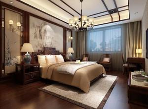 三居室别墅新中式卧室背景墙装修效果图